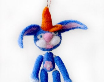 Rabbit in a baseball cap carrots - stick cup for your car window and not only - needlefelted sculpture