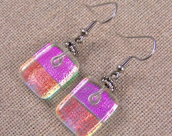 """Dichroic Earrings Dangle or Clips - Magenta Pink  & Copper Orange Opal Moonstone Ice Fused Glass - 3/4"""" - Surgical Steel French Wire"""