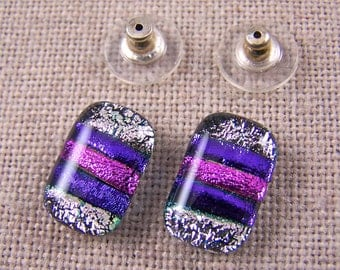 "Dichroic Fused Glass Earrings Post - Magenta PINK Violet Striped Purple Pastel Pink Stripes- 1/2"" 12mm .5 Inch / or Clip On"