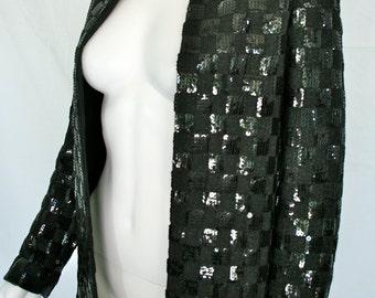 Vintage Black Sequined Leo Narducci Ambiance Jacket