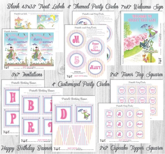 Mary Poppins Party Decorations, *FEATURED on Hostess With The Mostest*, Printable Party By Cutie Putti Paperie