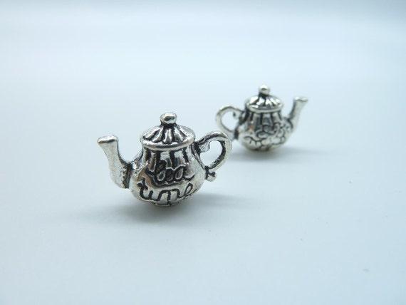 10pcs 7x13x15mm Antique Silver 3D Thick Teatime Teapot Tea Pot Charm Pendant b292