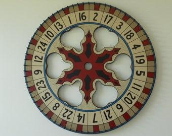 "24"", Carnival Wheel, Wood, Hand Painted, Folk Art, Primitive, Game Board, Game Boards,"