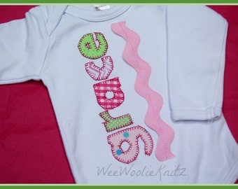 Personalized Baby Girl Bodysuit Newborn Coming Home Outfit Baby Shower Gift 1st Birthday Initial