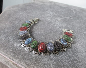Anniversary Sale SALE DeLizza & Elster, Juliana Gorgeous Bracelet 50's, D and E, 13 Hand Painted Glass Stones and Book Links