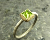 Pyramid Cut Peridot Ring set in 18K gold