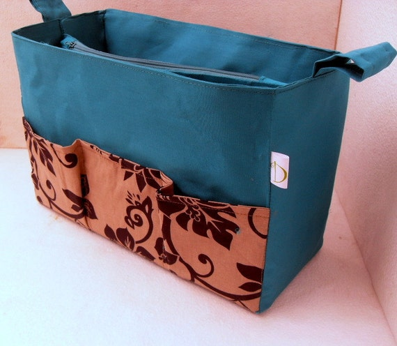 Extra tall- Large size Purse organizer - Bag organizer insert in Peacock and black floral fabric