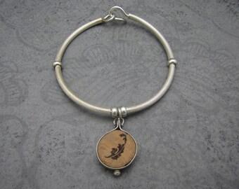 Sterling Silver & Wine Cork Bangle Bracelet