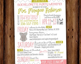 Bachelorette Party Weekend Itinerary Card Weekend