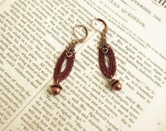 lace earrings -HANNAH - merlot wine marsala - additional colors