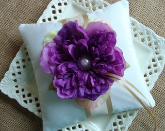 Wedding Ring Bearer Pillow - Purple Peony & Champagne on Ivory Tafetta