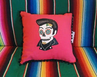 Day of the Dead Elvis Sugar Skull Embroidered Calavera on Magenta Pink Pillow with Black Ball Fringe