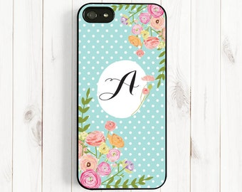 Personalized Initial Case, Spring Rose Mint Polka Dot, Samsung Galaxy S5 S4 S3, Note 3 Case, iPhone 7 6/6 Plus/5/5s/5c/4s Case ch18