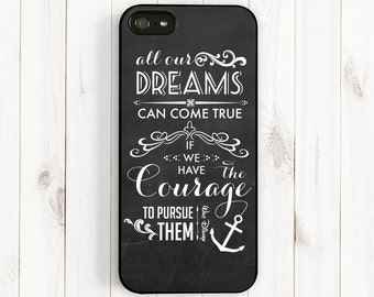 Dream Quote iPhone 7 6 Case, Walt Disney Quote on Chalkboard, All Dream Can Come True, iPhone 6 Plus 5C 5S 5 4, Samsung Galaxy S3 S4 S5 Qt09