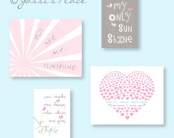 Kids Wall Art, You Are My Sunshine Print Set in Pink, Blue, and Gray for girl, Brooklyn Colors by YassisPlace (ESBPGB -001)
