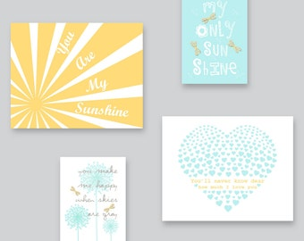 Baby Boy Nursery art, Dandelions and Dragonflies Wall Decor, You Are My Sunshine, Yellow, Aqua and Gray by YassisPlace DES-001