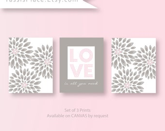 Baby Girl Decor, Pink Gray Wall Art Nursery Artwork Girl Flower Love is all you need Print set of 3 Baby Decor by YassisPlace
