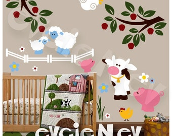 Farm Animals Wall Decals - On the Farm Wall Stickers with pig, cow, chicken and sheep PLFRM010