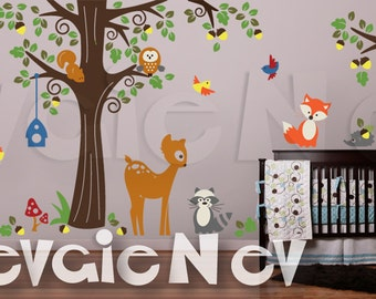 Nursery Wall Decals - Forest Animals Wall Art - Fox, Deer, Bear, Racoon, Owls and Large Tree Wall Decals - PLFR050