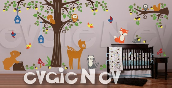 Nursery Wall Sticker - Forest Animals Friend Wall Art - Fox, Deer, Bear, Raccoon, Owls Wall Decals - PLFR050