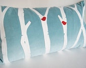 """Custom Listing for foster006/ Birch Trees with Cardinals Icy Blue Pillow Cover/ 12""""x20""""/ Handmade/ Made To Order/ OOAK"""