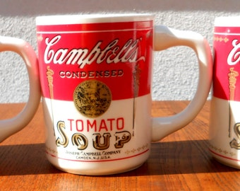 Campbells Tomato Soup Mugs,Three, Vintage, 1970's