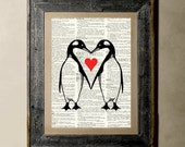 Buy 1 get 1 Free - Penguins Love - Printed on a Vintage Dictionary, 8X10, dictionary art, paper art, illustration art, collage