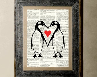 Penguins Love - Printed on a Vintage Dictionary, 8X10, dictionary art, paper art, illustration art, collage