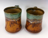 2 Small Oak Leaf Mugs