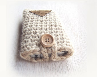 iPhone 4, 5, 6 and 6 Plus Case, Crochet iPhone Case in Beige and Leather, Android Case Neutral Tones Earth Nature Gigt for her, for him