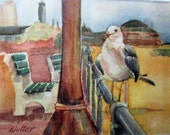 SEAGULL on the Boardwalk Asbury Park NJ  Artist's Greeting Card of Original Watercolor  by Liz Ferber-Wolter