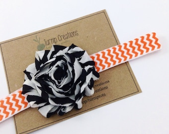 Halloween Headband Shabby Flower Headband Black & Orange Headband Black White Stripe on Orange Chevron Photo Prop Fall Headband