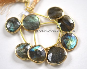 Labradorite Gold Rimmed Beads, Vermeil Rimmed Labradorite, Gold Labradorite TearDrop Beads, Heart Shape Labradorite 15 x 15mm