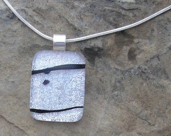 Black and Silver Necklace Fused Dichroic Glass White Pendant