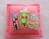 Pink Felt Wonky Town Pincushion Applique House Felt Pincushion