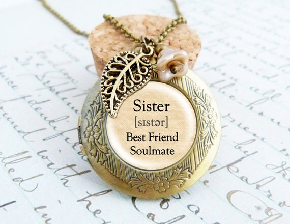 Sister locket vintage necklace like this item mozeypictures Gallery