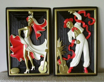 Relief Vintage Wall Hanging Set, Flamenco, Spanish Dancers