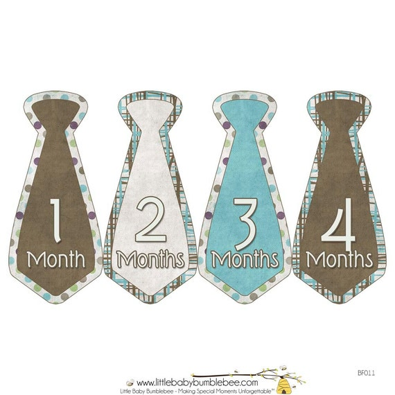 Monthly Boy Tie Stickers, Baby Announcement, Monthly Baby Stickers, Monthly Photos, Baby Gift, First Year Photo Prop, Blue Brown (BF011)