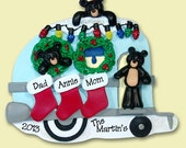 Personalized Christmas Ornament Black Bear Family of 3 Camping / Camper -  HAND PAINTED RESIN