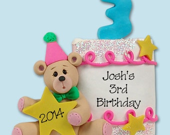 PERSONALIZED 3rd BIRTHDAY Cake Personalized Christmas Ornament - Handmade Polymer Clay