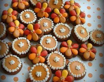 Thanksgiving Cookies - 2, 3, or 4 dozen MINI fall cookies - turkey and pumpkin pie cookies - decorated cookies
