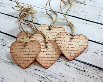 Vintage Inspired Heart Tags - Set of 5 - You choose ribbon color