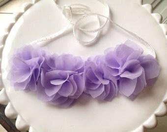 Lavender chiffon flower halo