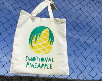 Tote Bag Emotional Pineapple · Fun Emo tote bag · Original shopping bag handprinted by Olula · Reusable bag · Shopper bag · Tropical print