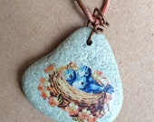 Three Blue Bird Chicks in Nest with Peachy Pink Flowers Handmade Necklace on Gorgeous Vintage Copper Chain and Blue River Rock