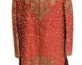 Reserved for LE  Vintage Oriental Rust Red Ornately Beaded Full Length Coat Oriental Silk Beaded WONDERFUL
