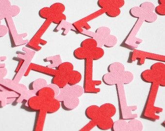 100 Valentine's Pink Red Key die cut punch confetti scrapbook embellishments - No956