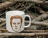 Christopher Walken hand painted portrait on upcycled porcelain mug