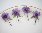 Plum Purple Organza Hair Pins, Handmade Organza Ribbon Flowers, Floral Bobby Pins, Set of 4 Bobbies, Wedding, Bridal, Woodland