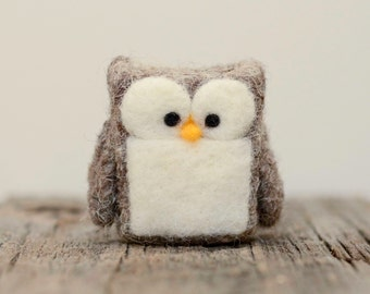 Needle Felted Owl, white grey wool home fall autumn decor whimsical play ecofriendly